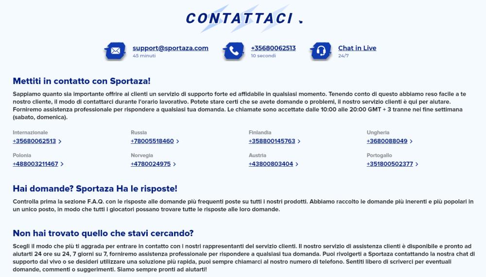 Sportaza assistenza clienti, contatti, live chat, numero di telefono