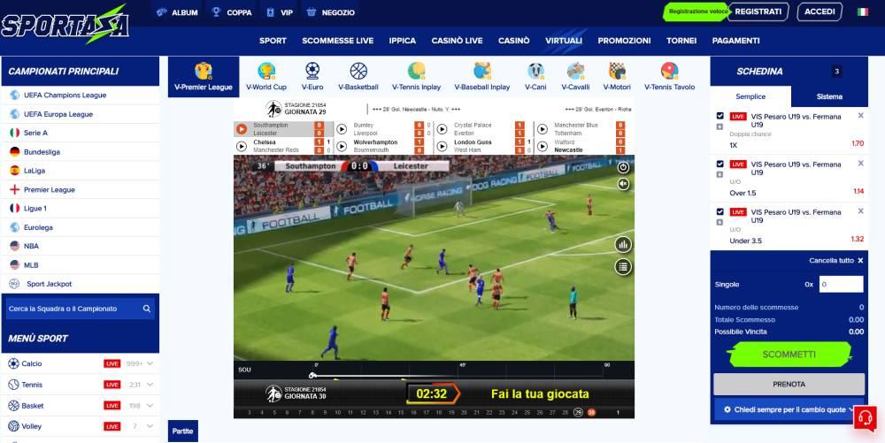 scommesse sport virtuali - calcio virtuale
