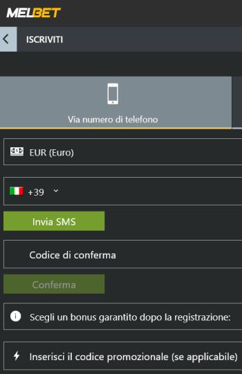 La registrazione a Melbet dall'Italia