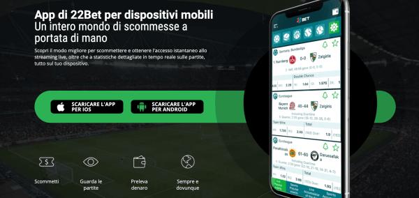 22bet app mobile per dispositivi iOS e Android
