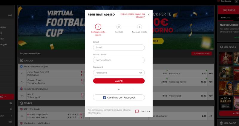 select.bet registrazione, iscrizione a selectbet