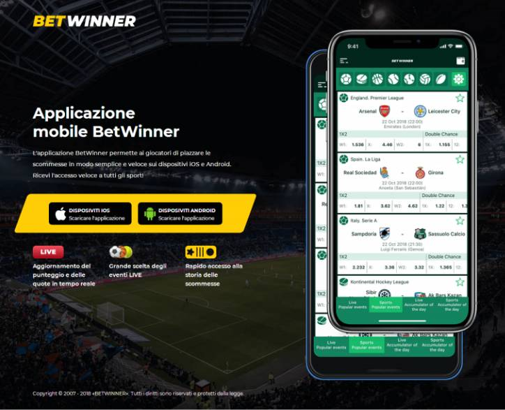 Betwinner app mobile scommesse