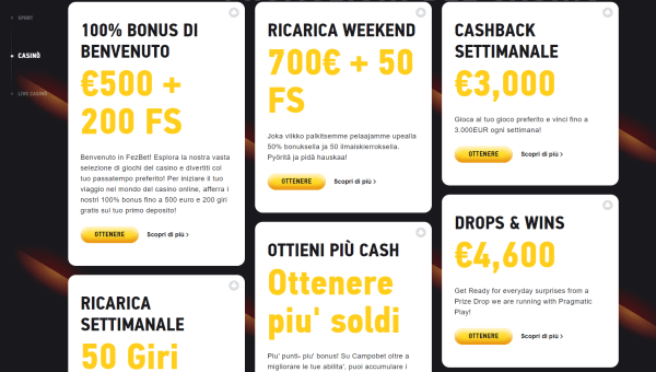 Fezbet bonus scommesse e casino online
