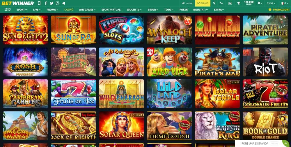 Betwinner casinò, casino Live e slot machine