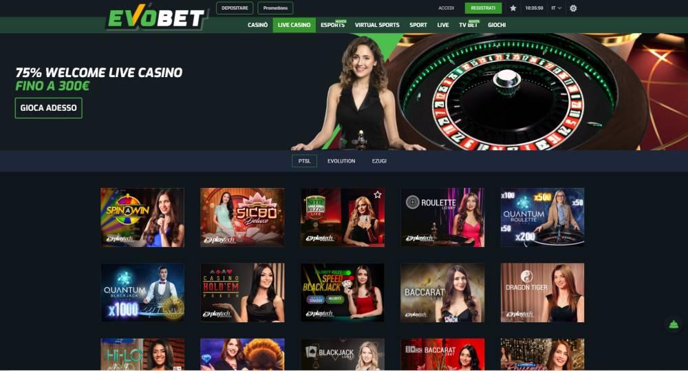 Evobet casinò e casino Live