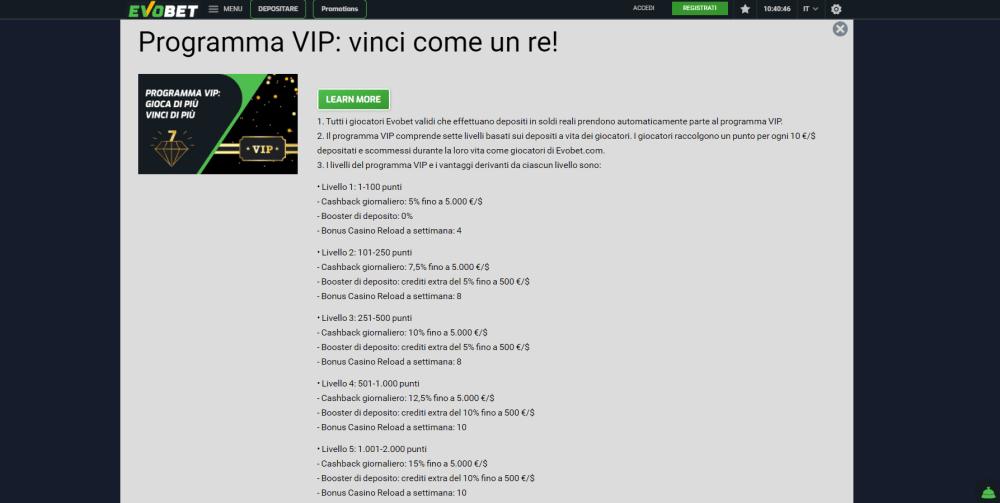 Programma VIP casinò - 7 Livelli VIP